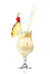 Cocktail pina colada with a piece of pineapple isolated on white background