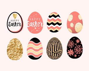 A collection of easter egg decoration and designs. Vector illustration