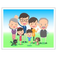 三世代 家族の記念写真