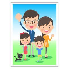 親子 家族の記念写真