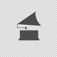 Gramophone vector icon eps 10. Simple isolated illustration on transparent background.