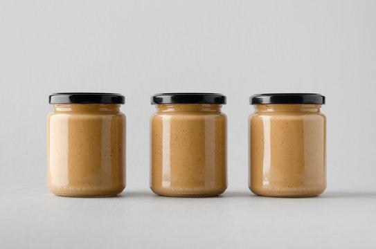 Peanut / Almond / Nut Butter Jar Mock-Up - Three Jars