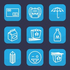 Set of 9 outline pack icons