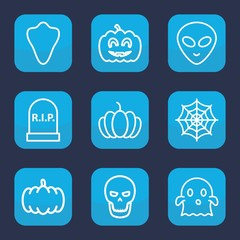 Set of 9 outline halloween icons