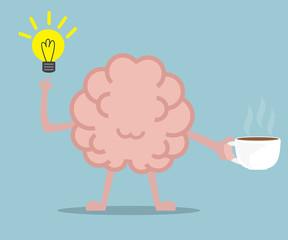 human brain drinking coffee for fresh idea