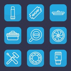 Set of 9 outline macro icons