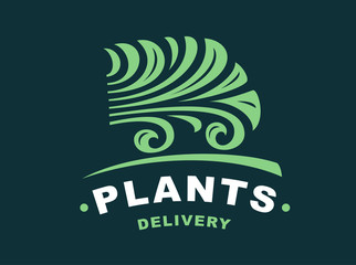 Plants delivery logo - vector illustration, emblem design on dark background