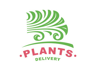 Plants delivery logo - vector illustration, emblem design on white background