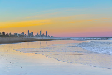 Sunset from the beach with ocean tide at Miami Headland Gold Coast