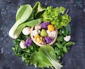Organic cauliflower with various greens