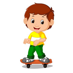 boy playing skateboard cartoon