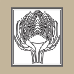 Set of artichoke symbol. Style for beauty salon, eco-store, cafe, restaurant. Invitation to a party.