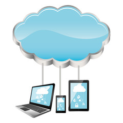 cloud storage connected with tech device set vector illustration