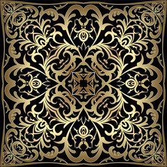 Black handkerchief with gold pattern. Square ornament for print on fabric, vector illustration.