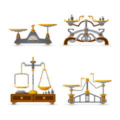 Vector retro balance scales set in flat style