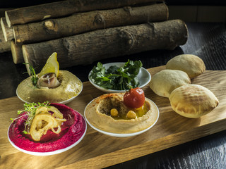 Collection of hummus