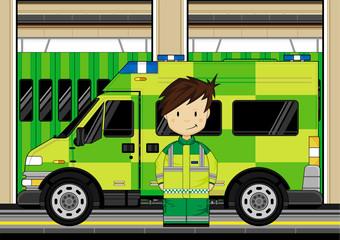 Cute Cartoon Ambulance and EMT Medic