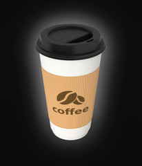 Coffee cup on black gradient background 3d