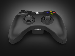 black gamepad on black gradient background 3d