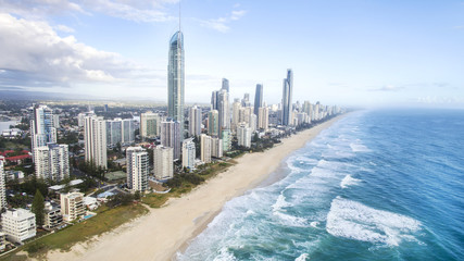 Aerial view of Gold Coast Surfers Paradise beach and coastline