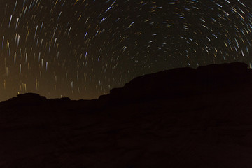 star trails on stone mountain