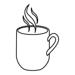 silhouette mug coffee with smoke vector illustration