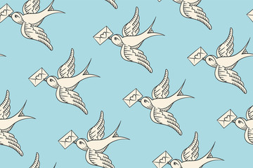 Seamless pattern with old school vintage bird and postal envelope with heart in engraving style on blue background. Hand drawn design for wrapping paper, fabric background. Vector illustration