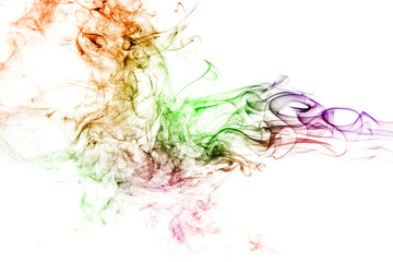 Fototapete - colored smoke isolated on white background