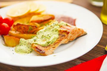 Close up of sea fish with potato