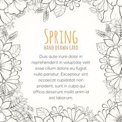 Hand drawn flower invitation card.