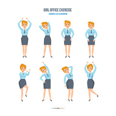 The girl in the office, in various poses, doing exercises.