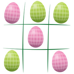 Easter eggs playing tic tac toe - vintage style, with checked gingham pattern. Isolated vector illustration on white background.