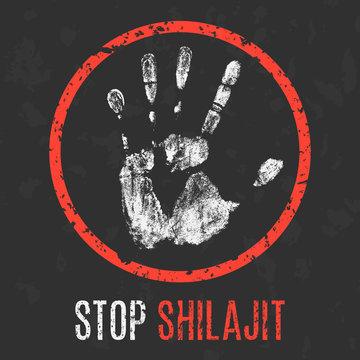Vector illustration. Stop shilajit.