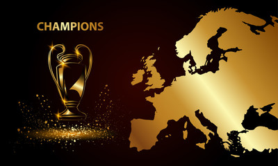Champions Cup with a map. Golden Soccer trophy.