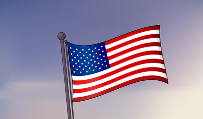 United States of America flag on a sky background. Vector illustration
