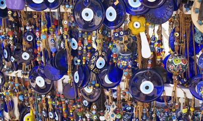 Deurstickers Turkije Close up view of evil eye souvenirs.