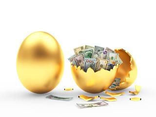Golden egg and broken egg shell with dollar bills isolated on white background. 3D illustration