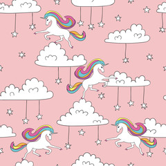 Seamless unicorn pattern. Magic vector background with cute unicorns, clouds and stars.