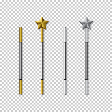 Vector magic wand set isolated on transparent background.