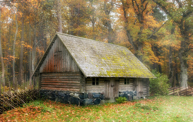 vintage, rustic utility room in the autumn mist. View of the patio of farm. The open air Museum in Tallinn. Historical landmark of Estonia. The old medieval architecture of Estonia.