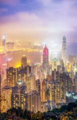 Hong Kong skyline night from the peak
