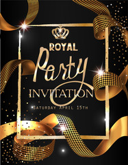 Royal party invitation card with gold curly ribbon, textured frame and crown. Vector illustration