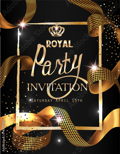 Royal party invitation card with gold curly ribbon textured frame royal party invitation card with gold curly ribbon textured frame and crown vector illustration stopboris Gallery