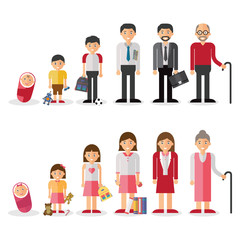 Different generations european men and woman isolated set vector illustration.