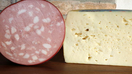 Italian cheese asiago type and mortadella in typical food store