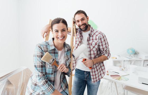 Creative couple renovating their house