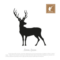 Black silhouette of a deer on a white background. Icon hunter with a gun