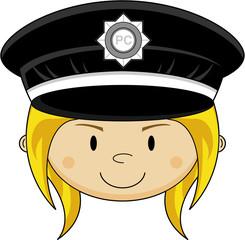 Cute Cartoon Police Woman