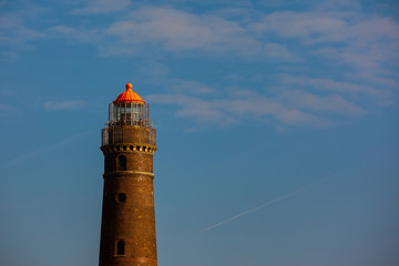 lighthouse on the island of Borkum Germany by storm