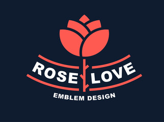 Red rose logo - vector illustration, emblem design on dark background